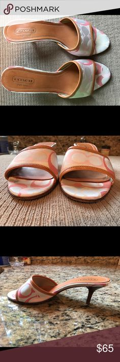 """Mint condition coach slides EUC, only worn once, beautiful peach and light coral Authentic Coach open toe slide mules. They are mine, no box because I put my shoes in plastic boxes so I can see what they are. 2 1/2"""" wood stacked heel. No issues. Size 8 and very comfy... They look brand new, as I am very fussy about my shoe closet and keep everything wrapped up and in its own box. Smoke and pet free home. Coach Shoes"""