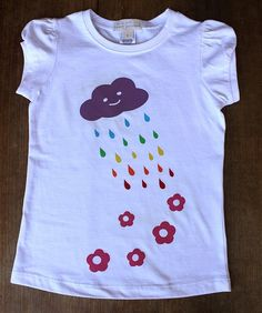rainbow cloud + flowers - screen printed t-shirt Hand Painted Dress, Rainbow Cloud, Fabric Painting, Funny Faces, Diy For Kids, Screen Printing, Stitching, Crochet, Creative