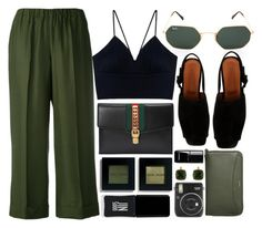"""In Green"" by smartbuyglasses ❤ liked on Polyvore featuring P.A.R.O.S.H., Gucci, by FAR, Bobbi Brown Cosmetics, JINsoon, Fuji, Skagen, Les Néréides, Chanel and black"