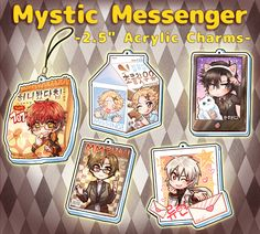 "**This+is+a+pre-order+item,+charms+will+be+sent+out+in+Late-February**  2.5""+acrylic+charms+of+characters+from+Mystic+Messenger!"