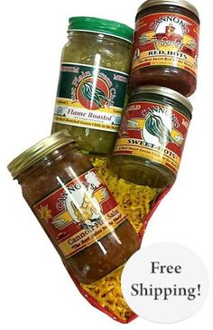 Bring on the Spices with locally made New Mexico jar of just plain green chile, a jar of Cannon Fire Salsa, and jars of Sweet Hots.