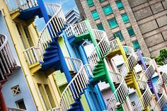 Bugis Street Travel Ideas Spiral Pastels Singapore : Pastel staircases line the street in Singapore Travel, Singapore Island, Great Places, Places To Go, Porches, Stair Steps, Stairway To Heaven, Beautiful Buildings, Asia Travel