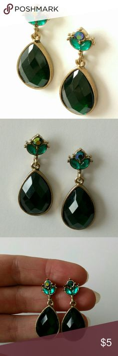 1928 dark emerald-shade drop earrings Perfect size with the right amount of shine to bring elegance to any outfit!  Iridescent crystals top off a faceted dark green drop.  Gently used in excellent condition.  Clearing out my massive jewelry collection to help fund home repairs.  Price firm and extremely reasonable, but bundle and save 10%! 1928 Jewelry Earrings