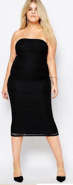 Plus Size Lace Bandeau Midi Dress