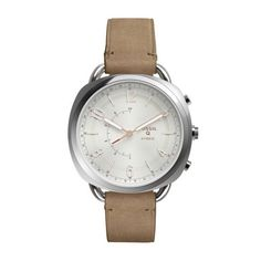 She'll appreciate the soft lines and innovation this Fossil Q Accomplice Collection hybrid smart watch offers. Crafted in stainless steel, this casual. - Ladies& Fossil Q Accomplice Strap Hybrid Smart Watch with White Dial (Model: Fossil Q, Fossil Watches, Women's Watches, Best Smart Watches, Cool Watches, Smartwatch, Leather Luggage, Watch Case, Online Shopping