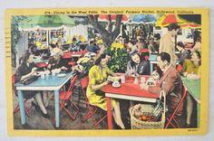 1950s linen postcard-Farmers Market, Hollywood, California