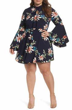 Glamorous Bell Sleeve Floral Minidress (Plus Size)