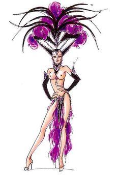 Amethyst Jubilee showgirl costume sketch by Bob Mackie