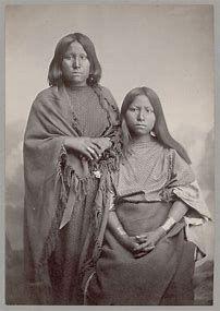 """Angeline AKA """"ja-ca-do'-ah ha-e-may"""" [Kiowa women, Big Tree's sister on right]"""