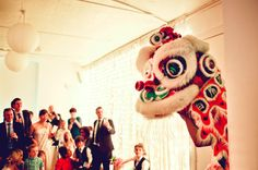 OUR LONDON WEDDING |  Chinese Lion dancing at a London wedding; a nod to our heritage!