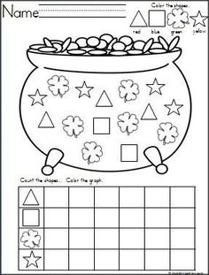 This is a Pot of Gold and Clovers shapes graph available on http://Madebyteachers.com. Great for St. Patrick's Day and March. {freebie}