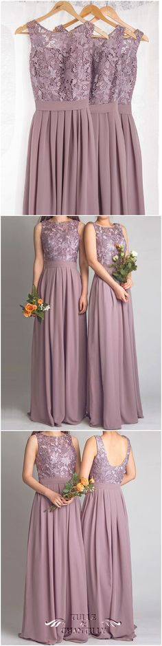Dramatic Vintage Lace Bridesmaid Dresses with Flowing Chiffon Skirt