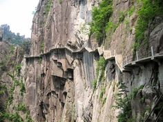 Crazy Huangshan walkways on sheer cliffs: China Tianmen Mountain, Choose Your Own Path, Take The High Road, Sacred Mountain, Active Volcano, Walk This Way, Future Travel, Mountain Landscape, Paths