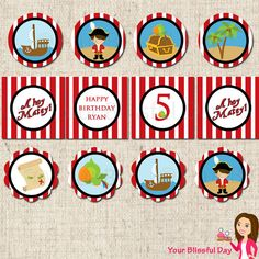 Pirate Party Printables   PRINTABLE Boy Pirate Party Circles (Personalized) by Your Blissful Day ...