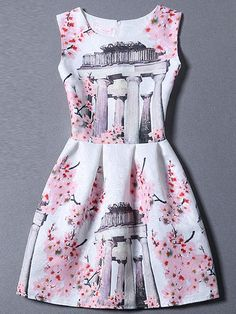 Pink Sleeveless Floral A Line Dress -SheIn(Sheinside) Mobile Site