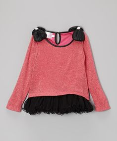 This Pink & Black Bow Sweater Dress - Toddler & Girls by Blossom Couture is perfect! #zulilyfinds