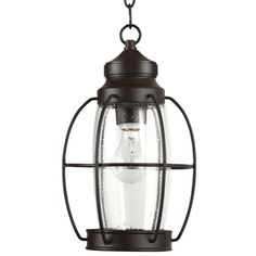"""View the Park Harbor PHEL2901 West Rock 8"""" Wide Single Light Outdoor Mini Pendant with Lantern Style Cage and Seedy Glass at LightingDirect.com."""