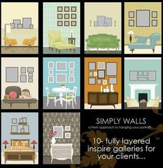 Here's a few different arrangement ideas and wall locations for fine art gallery walls if you were needing some inspiration.