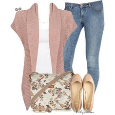 A fashion look from August 2014 featuring Forever 21 cardigans, Old Navy jeans and Cole Haan flats. Browse and shop related looks.