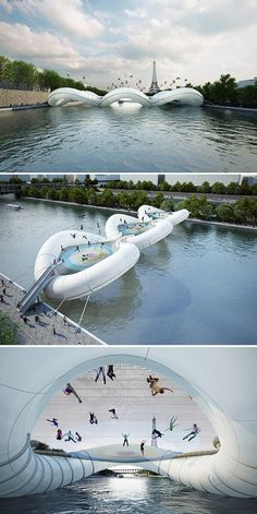 Trampoline Bridge in Paris by AZC Architecture. Is this real life?!