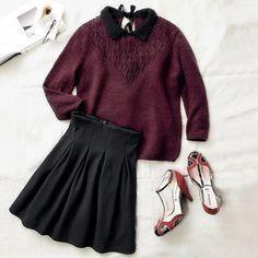 Je vous présente le look trendy chic Mademoiselle r de l'hiver ! #look #mode #mademoiseller Ref Pull >> 500994714 Ref Jupe >> 501039316