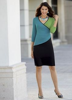 Block Party Dress from Monroe and Main. Sweeps of color curve for a shape-enhancing dress that keeps the eye moving.