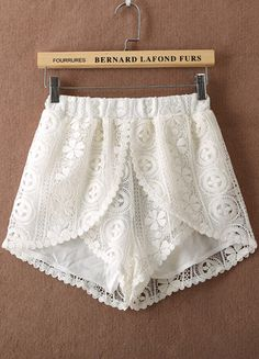 White Elastic Waist Hollow Lace Shorts - http://Sheinside.com Oh how I want this...