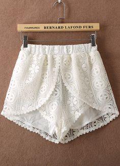 White Elastic Waist Hollow Lace Shorts