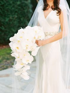 orchids bouquet from The Farm at Old Edwards wedding - North Carolina White Orchid Bouquet, Orchid Bouquet Wedding, Cascading Wedding Bouquets, Bride Bouquets, Floral Wedding, Wedding Bride, Dream Wedding, Wedding Dresses, Gold Wedding