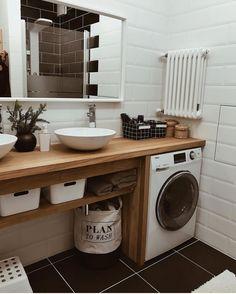 Inexpensive Tiny Laundry Room Design Ideas With Nature Touches 21 Room Design, Bathroom Interior Design, Interior, Bedroom Design, Home Decor, House Interior, Bathroom Design Small, Modern Laundry Rooms, Bathroom Decor