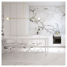 Salle à manger White Kitchen with marble walls and lucite chairs. Get started on liberating yo