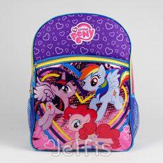 "Jelfis.com - My Little Pony Hearts Girls 16"" Large School Backpack, $17.99 (http://www.jelfis.com/my-little-pony-hearts-girls-16-large-school-backpack/?page_context=category"