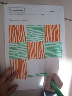 En graphisme, Moyens et Grands travaillent sur les traits verticaux. Pour les GS, il s'agit de réviser le sens du tracé (de haut en bas)... Drawing Lessons For Kids, Art Drawings For Kids, Art Lessons, Art For Kids, Preschool Worksheets, Preschool Crafts, Math Activities, Childhood Education, Kids Education