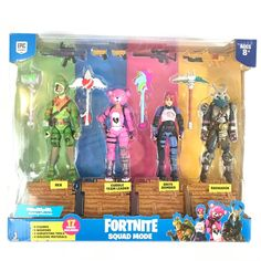 Jazwares Fortnite Squad Mode 4 Figure Pack for sale online Brand Stickers, Team Leader, Geek Gifts, Lego Creations, Galaxy Wallpaper, Cuddling, Squad, Action Figures, Pokemon