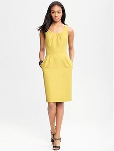 Chartreuse Jacquard Dress, via Banana Republic-- a few less hips and a added sweater and it's for me!