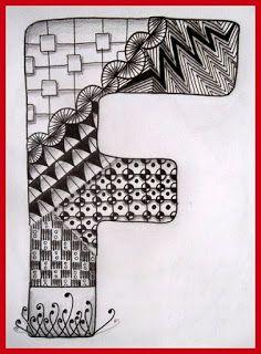 Drawing Practice The Inner World: ABC - Tangled Alphabet Tangle Doodle, Tangle Art, Doodles Zentangles, Zentangle Patterns, Mandala Pattern, Adult Coloring Book Pages, Coloring Books, Doodle Alphabet, Graffiti Doodles