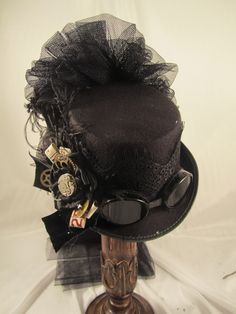Elsie Massey Steampunk Black Riding Hat