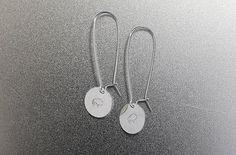 Sterling Silver Earrings long dangles simple modern hand stamped buffalo pierced earrings minimalist