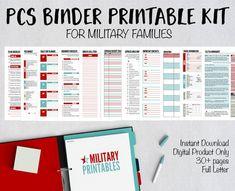 PCS Binder Printable, Military Move Planning Kit, PCS Binder and Checklist, Moving Binder Organizer, Military Family Planner Organizer Moving Checklist, Moving Tips, Moving Hacks, Pcs Binder, Life Binder, Moving Binder, Family Planner, Military Life, Organizers
