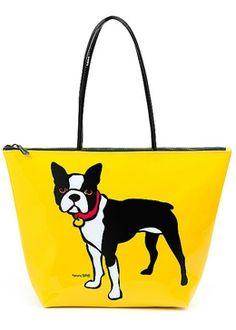 boston terrier - Boston Terrier Vinyl Zippered Tote Bag by Marc Tetro