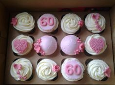 60th birthday cupcakes Robs moms 60th Pinterest 60th
