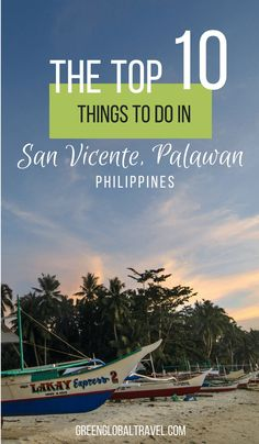 San Vicente Palawan Philippines is one of the top tropical islands to visit. Check out our top things to do including island hopping, swimming with sea turtles, hiking waterfalls, watching amazing sunsets and more! Travel Guides, Travel Tips, Travel Destinations, Travel Goals, Tropical Islands To Visit, Philippines Travel Guide, Philippines Palawan, Stuff To Do, Things To Do