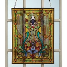 """Victorian Style Stained Glass Window Panel with Fleur De Lis 25"""" x 19"""""""