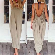 9ea34837e245 Arealook Open Back Full Length Sundress Open Back Maxi Dress, Tank Dress,  Cheap Maxi