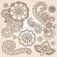 Henna Paisley Flowers Tattoo Designs