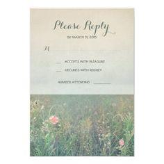Summer Wedding Invitations Summer meadow wedding RSVP cards