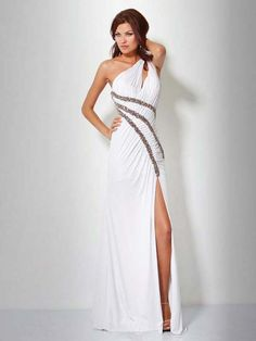 Sheath/Column One Shoulder Chiffon White Long Prom Dresses/Evening Dress With Beading #USALF292