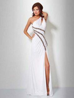 Sheath/Column One Shoulder Chiffon White Long Prom Dresses/Evening Dress With Beading #USALF292
