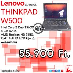 "Lenovo Thinkpad W500 laptop, Intel Core 2 Duo T9600, 4 GB RAM, AMD Radeon HD 3650, 15,4"" FullHD LCD kijelző, webkamera Ár: 55 900.- Ft"