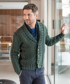 Man's jacket with cables, S9259